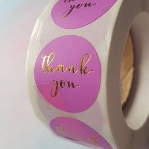 500 pcs Pink Gold Foil Thank You Stickers 1""